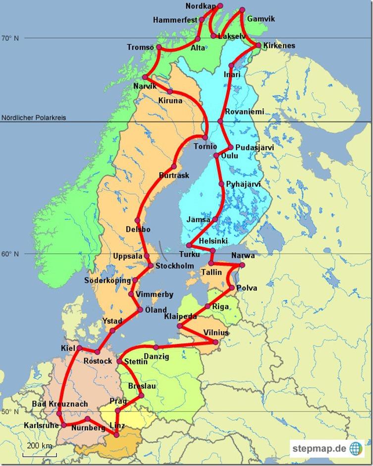 2016 Route  Nordkap