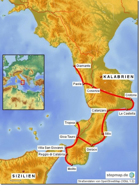 2016 Kalabrien Routenkarte